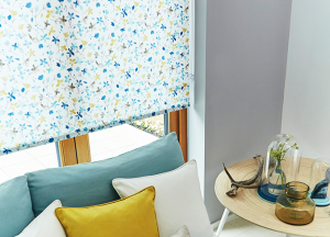 finesse blinds blue floral roller blinds