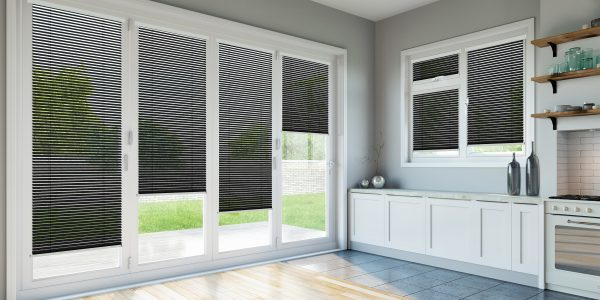 Kitchen with black intu blinds