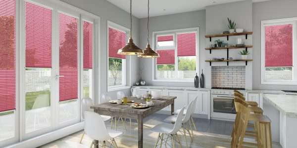 Kitchen with blush Intu blinds