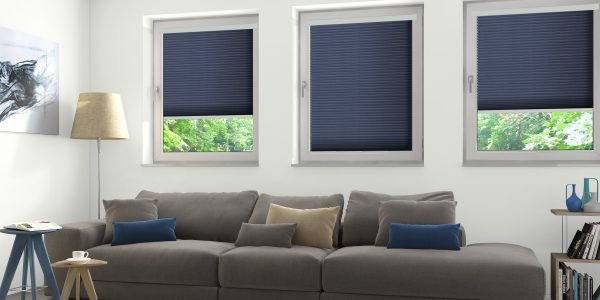 Living room with blue intu blinds