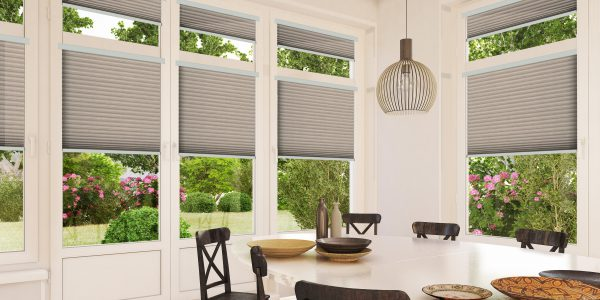 Dining room with grey Intu blinds