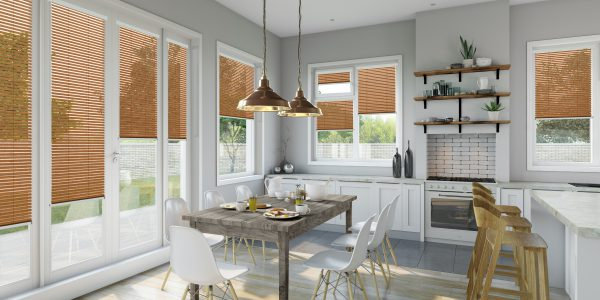 Kitchen with wood effect Intu blinds